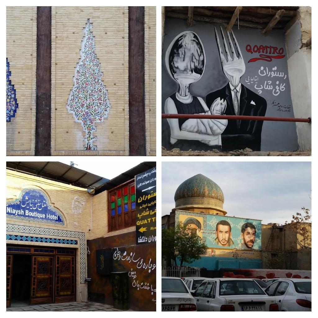 Art on the walls near our hotel, Niaysh hotel, Shiraz.