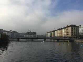 The pedestrian bridge over the Rhône