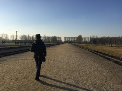 Our guide, cutting a lonely figure at Birkenau