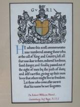 Memorial scroll clse