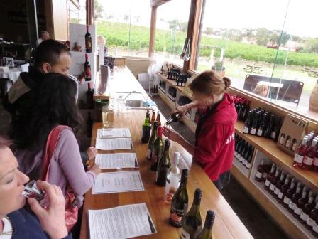 Wine tasting after an Aussie lunch