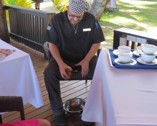 Chef Daz busy grating the nuts