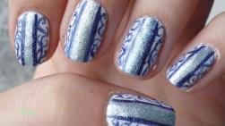 Nail Art Blue Jean Arabesques