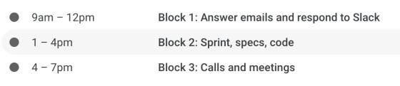 time blocks