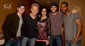 Greg Bates, Nick Hoffman, Krista Marie, Thomas Rhett and Damien Horne in the green room areas prior to the Class of 2012 Show