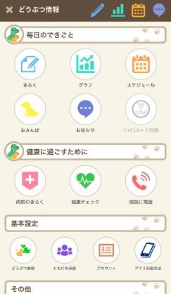 プラスサイクル アプリ画面 cycle+