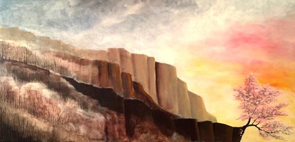 KJsArtStudio.com   Cherry Blossoms on Cliff ~ Original Painting by Fine Artist, KJ Burk