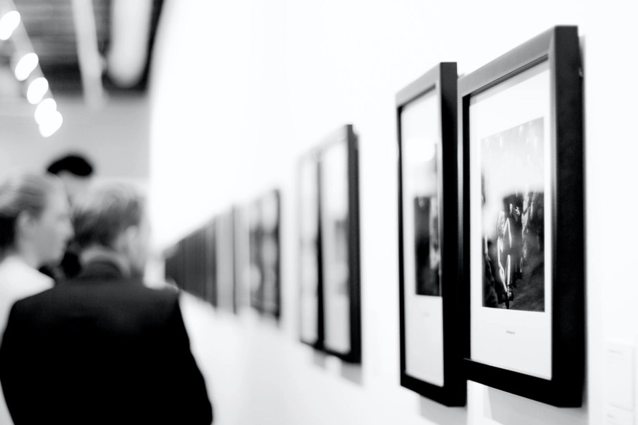 grayscale photography of paintings