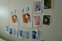 All my print taped to the wall for drying.