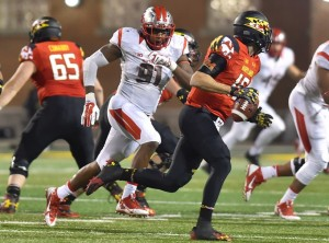 Darius Hamilton chases down Maryland QB C.J. Brown during last years game (Photo by Tian Li)