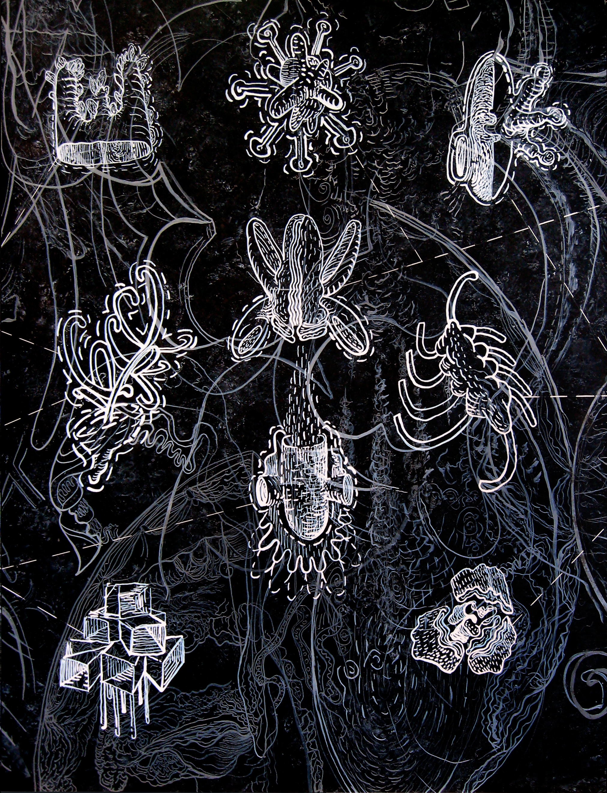 """Advancing Unknowns Part 2b, India ink on panel, 18"""" x 24"""""""