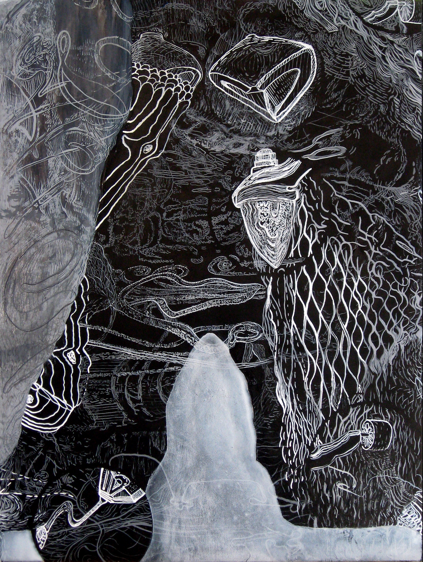 """Corrupted Font Part 2, India ink on panel, 18"""" x 24"""""""