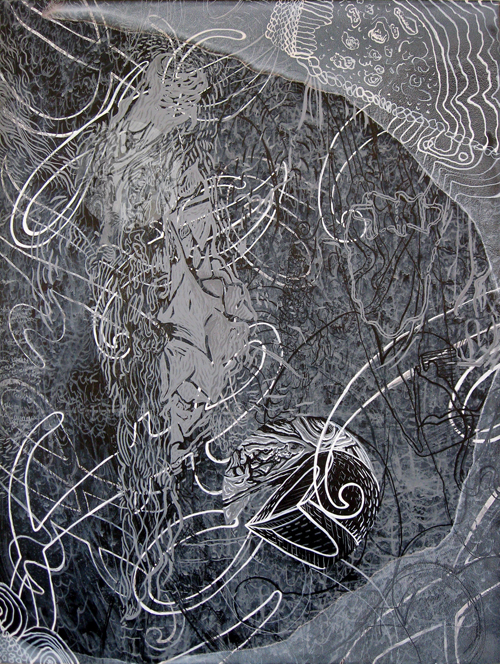 """The Danger of Verbs, India ink on panel, 18"""" x 24"""""""