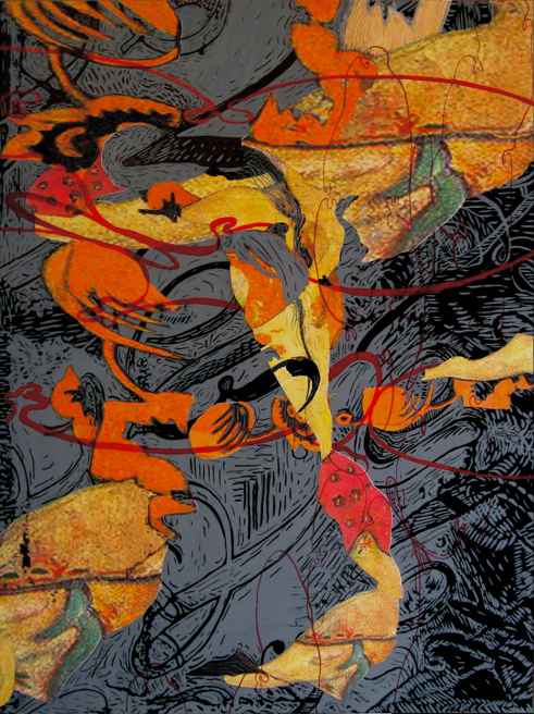 """Thorny Cultures After Gauguin, India ink and collage on panel, 18"""" X 24"""""""