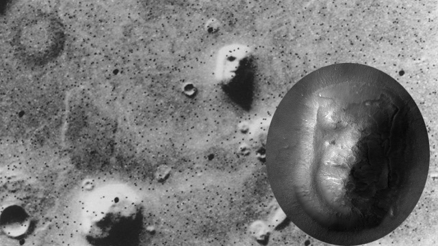 The Cydonia Mensae region of Mars.  Many see the hill in the top center of this photo (taken by Viking 1 in 1976) as a face.  Inset: the same region photographed in 2006 by the HiRISE camera aboard the Mars Recon Orbiter.
