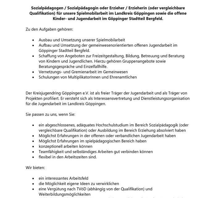 """Stellenausschreibung """"pädagogischer Mitarbeiter"""""""
