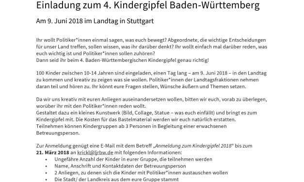 Einladung zum 4. Kindergipfel Baden-Württemberg