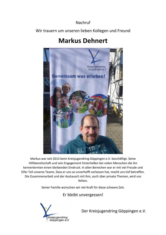 Nachruf Markus Dehnert