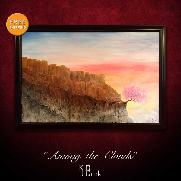 KJsArtStudio.com | Among the Clouds ~ Original Heavily Textured Surreal Landscape Painting by KJ Burk