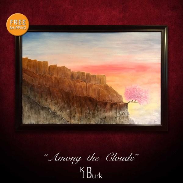 KJsArtStudio.com | Among the Clouds ~ Original Heavily Textured Surreal Landscape Painting by KJ Burk