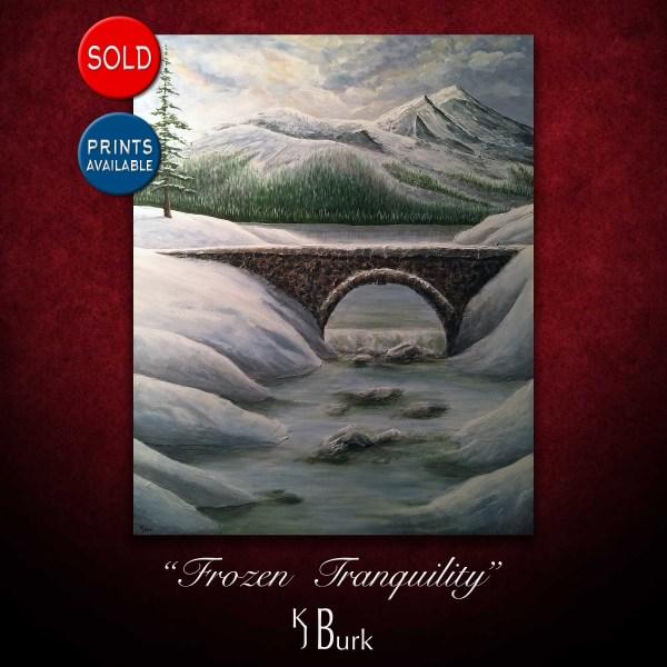 KJsArtStudio.com   Frozen Tranquility ~ Original Landscape Painting by KJ Burk
