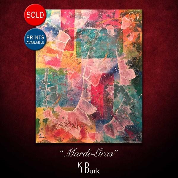 KJsArtStudio.com | Mardi-Gras ~ Original Heavily Textured Mixed Medium Abstract Painting by KJ Burk