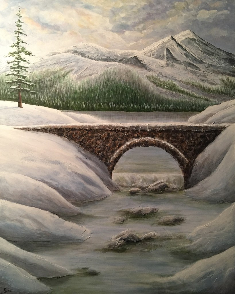 KJ's Art Studio | Frozen Tranquility - Original Textured Landscape Painting by KJ Burk