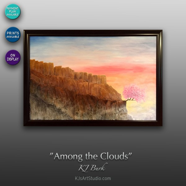 Among the Clouds - Original Heavily Textured Surreal Landscape Painting by KJ Burk