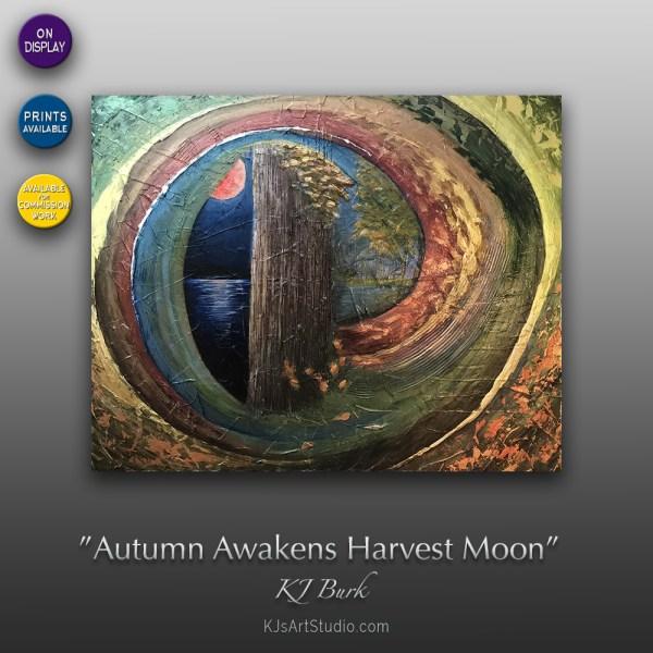 Autumn Awakens Harvest Moon - Original Heavily Textured Contemporary Painting by KJ Burk