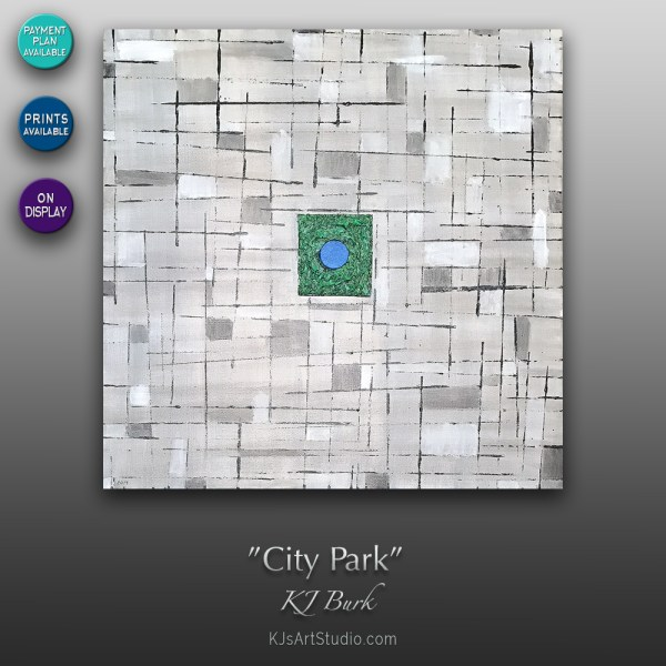 City Park - Original Contemporary Textured Painting by KJ Burk