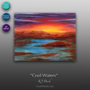 Cool Waters - Original Heavily Textured Landscape Painting by KJ Burk
