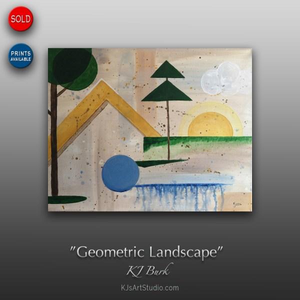 Geometric Landscape - Original Modern Geometric Abstract Painting by KJ Burk