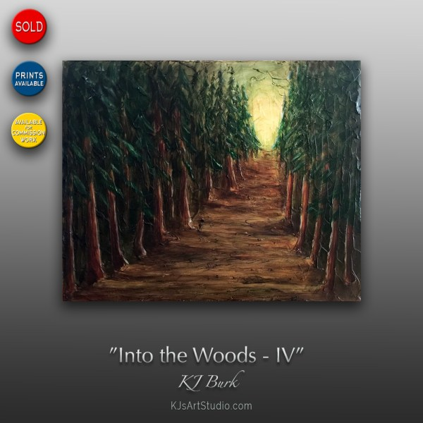 Into The Woods IV - Original Heavily Textured Landscape Painting by KJ Burk