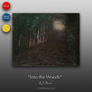 Into the Woods - Original Heavily Textured Landscape Painting by KJ Burk