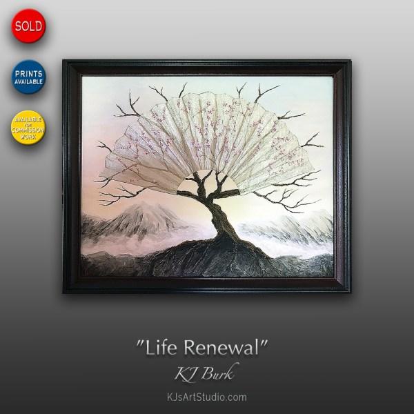 Life Renewal - Original Heavily Textured Surreal Painting by KJ Burk