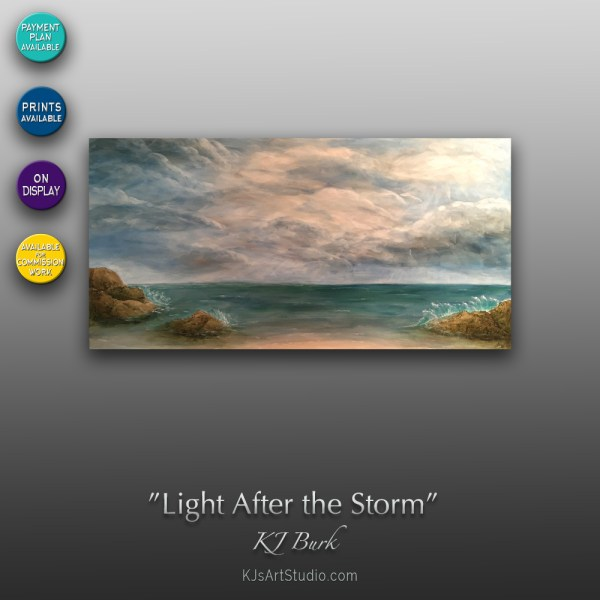 Light After the Storm - Original Textured Seascape Painting by KJ Burk