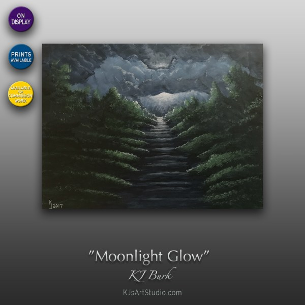 Moonlight Glow - Original Landscape Painting by KJ Burk