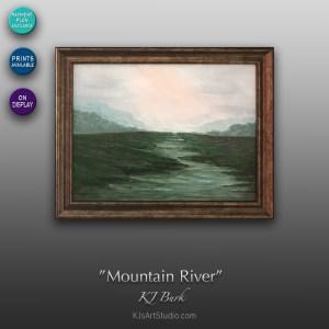 Mountain River - Original Landscape Painting by KJ Burk