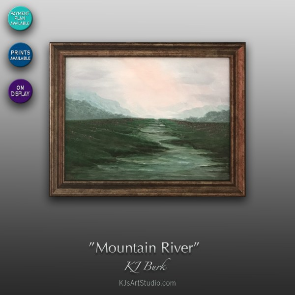 Mountain River - Original Landscape Painting by KJ Burk