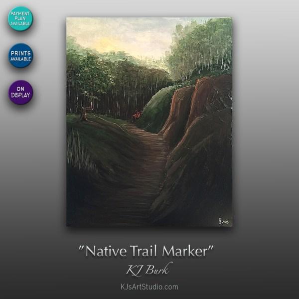 Native Trail Marker - Original Heavily Textured Landscape Painting by KJ Burk