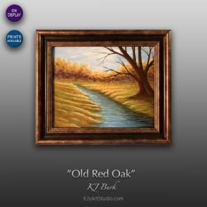 Old Red Oak - Original Landscape Painting by KJ Burk