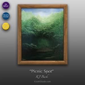 Picnic Spot - Original Landscape Painting by KJ Burk
