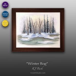 Winter Bog - Original Landscape Painting by KJ Burk