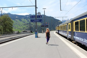 Catching the train to the Alps.