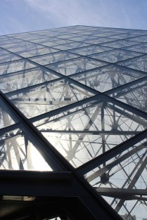 The famous glass pyramid.