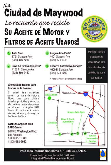 Spanish language used oil recycling flyer for the City of Maywood