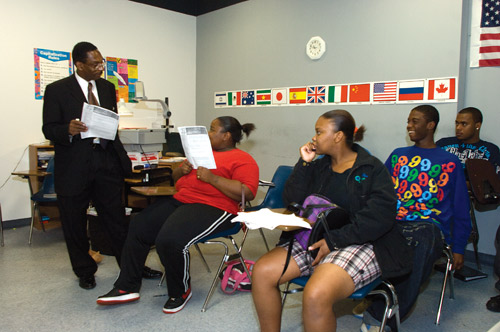 Students and teacher at EDGE school in Durham, NC