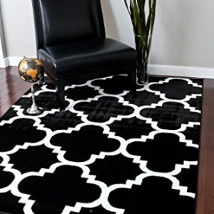 4518-Black-Moroccan-Trellis-710x106-Area-Rug-Carpet-Large-New-0