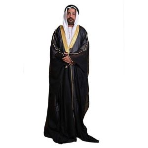 Desert Dress Black Bisht Cloak Arab Dress Thobe Saudi Mens Robe Eid