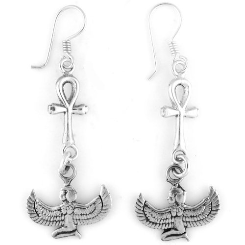 Egyptian Jewelry Silver Winged Isis & Ankh Earrings